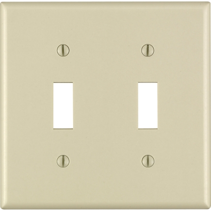 Leviton 2 Gang Ivory Toggle Switch Wall Plate 86009 000