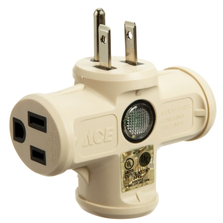 Ace Beige Heavy Duty Triple Tap Outlet Adapter With Led Light