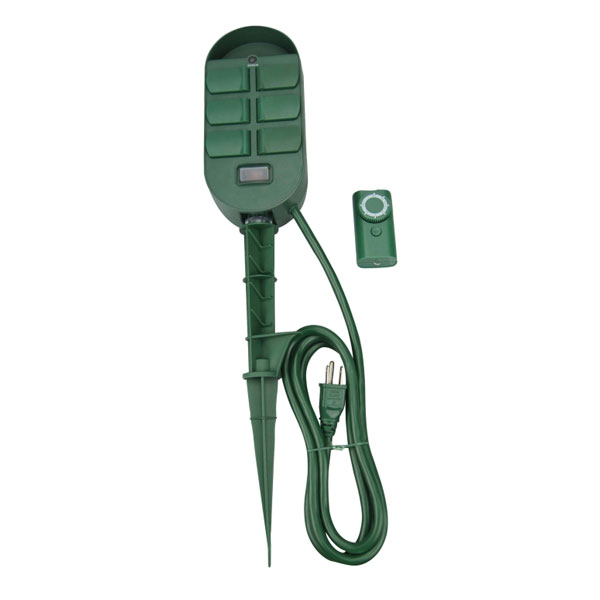Coleman Cable 6 Outlet Power Stake With Built In Timer And Remote