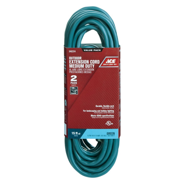 Ace 15' Green Indoor/Outdoor Extension Cords 2/Pack