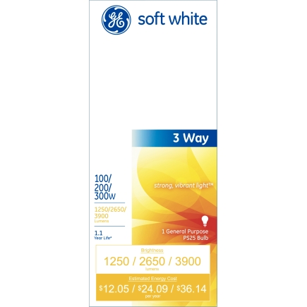 G E 3 Way Soft White Light Bulbs With Mogul Base 41459
