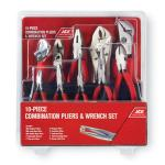 View: Ace 10 pc. Carbon Steel Pliers and Wrench Set Black/Red